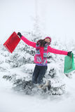 Winter girl jump Royalty Free Stock Photos