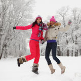 Winter girl jump Stock Photo