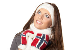 Winter girl looking up Royalty Free Stock Images