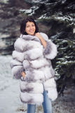 Winter Girl in Luxury Fur Coat. On the background of fir trees Stock Images