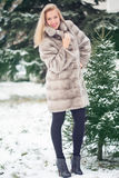 Winter Girl in Luxury Fur Coat. On the background of fir trees Royalty Free Stock Photo