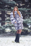 Winter Girl in Luxury Fur Coat. On the background of fir trees Royalty Free Stock Image