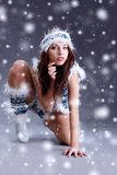 Winter girl with many snowflakes Royalty Free Stock Images