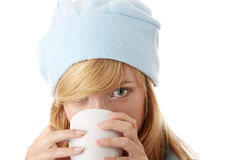 Winter girl with mug Stock Images