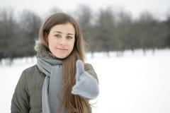 Winter girl. OK. Girl in the park in winter. Hand. Sign ok Stock Images