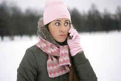 Winter girl on the phone. Girl in the park in winter on the phone Stock Image