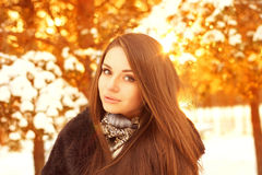 Winter girl portrait. Winter portrait of young beautiful girl against golden bokeh background Stock Images