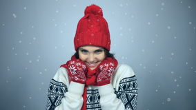 Winter girl portrait stock footage