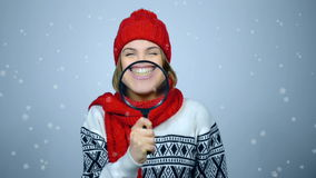 Winter girl portrait stock video