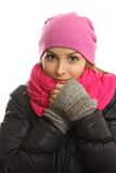 Winter girl portrait isolated on white. royalty free stock photography