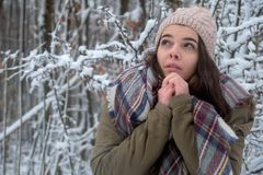 Beauty joyful model cold in winter park. Beautiful young female nature, enjoying nature stock images