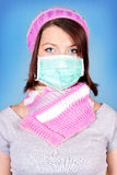 Winter girl with protection mask Royalty Free Stock Images