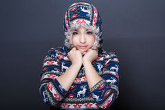 Winter girl in pullover Royalty Free Stock Images