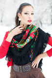 Winter girl in red cardigan with russian kerchief Stock Images