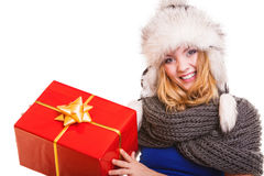Winter girl with red gift box isolated Royalty Free Stock Photo