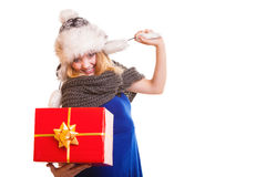 Winter girl with red gift box isolated Stock Photography