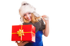 Winter girl with red gift box isolated Stock Photos