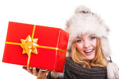 Winter girl with red gift box isolated Royalty Free Stock Photos