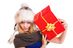 Winter girl with red gift box isolated Royalty Free Stock Images