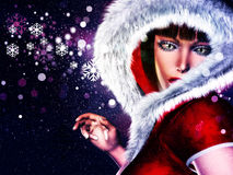 Winter girl in red outfit. Girl in winter red outfit with fur on abstract background with snowflakes Stock Photos