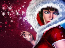 Winter girl in red outfit. Girl in winter red outfit with fur on abstract background with snowflakes Stock Image
