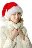 Winter girl in Santa cap Stock Images