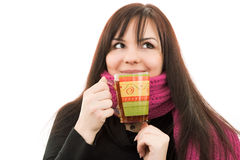 Winter girl in scarf. Girl in pink scarf drink cup of tea Royalty Free Stock Images