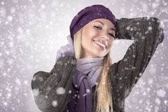 Winter girl with scarf and gloves Stock Image