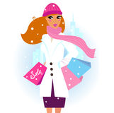 Winter Girl shopping in the town stock illustration