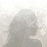 Winter girl silouette Royalty Free Stock Image