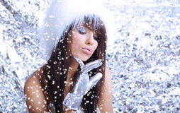 Winter girl on silver background Stock Image