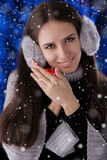 Winter Girl with Small Gift Box Stock Images