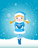 Winter girl in snow Stock Photos