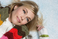 Winter Girl in Snow Royalty Free Stock Photo