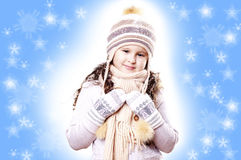 Winter Girl snow flake blue background Royalty Free Stock Photography