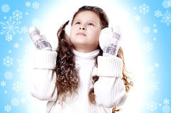 Winter Girl snow flake blue background Stock Photography