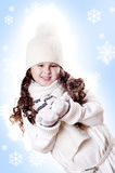 Winter Girl snow flake blue background Royalty Free Stock Photo