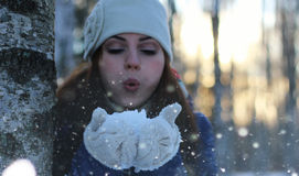 Winter girl snowball Royalty Free Stock Image