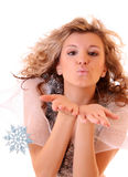 winter girl with snowflakes Stock Photos