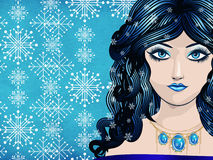 Winter girl with snowflakes Royalty Free Stock Photos