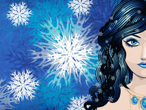 Winter girl with snowflakes Royalty Free Stock Images