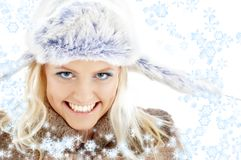 Winter girl with snowflakes #2 Stock Photos