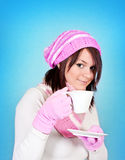 Winter girl with tea Stock Photo