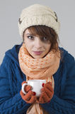 Winter girl with tea Royalty Free Stock Photography