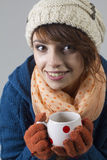 Winter girl with tea Royalty Free Stock Photo