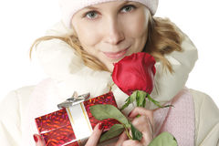 Winter girl in Valentines Day Royalty Free Stock Images