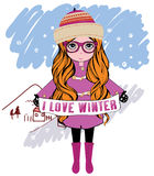 Winter girl vector illustration Royalty Free Stock Photos