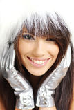 Winter girl wearing white fur Stock Images