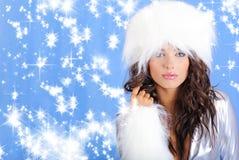 Winter Girl Wearing White Fur Hat Stock Photography