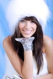 Winter girl wearing white fur hat Royalty Free Stock Photo